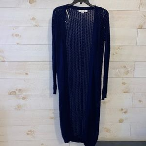 FOREVER 21 Women's Navy Blue Stretch Knit Long Duster Cardigan Sweater Size S